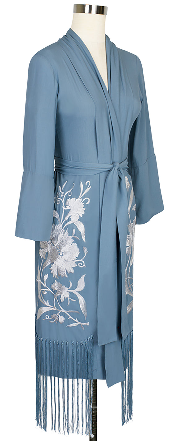 Flapper Robe - French Blue Embroidery