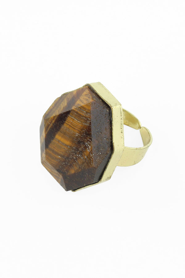 Tigers Eye Faceted Ring