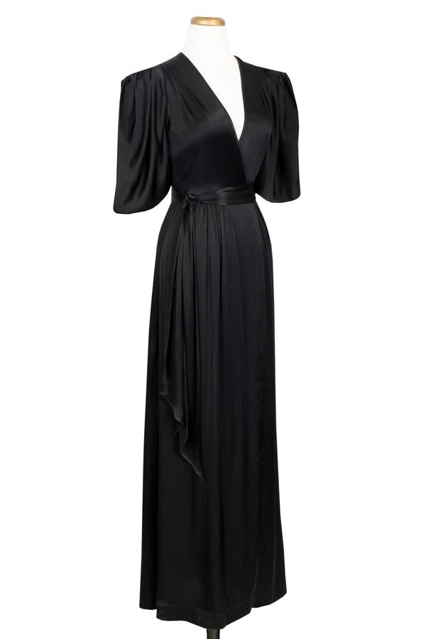 Taylor Wrap Robe - Black Satin