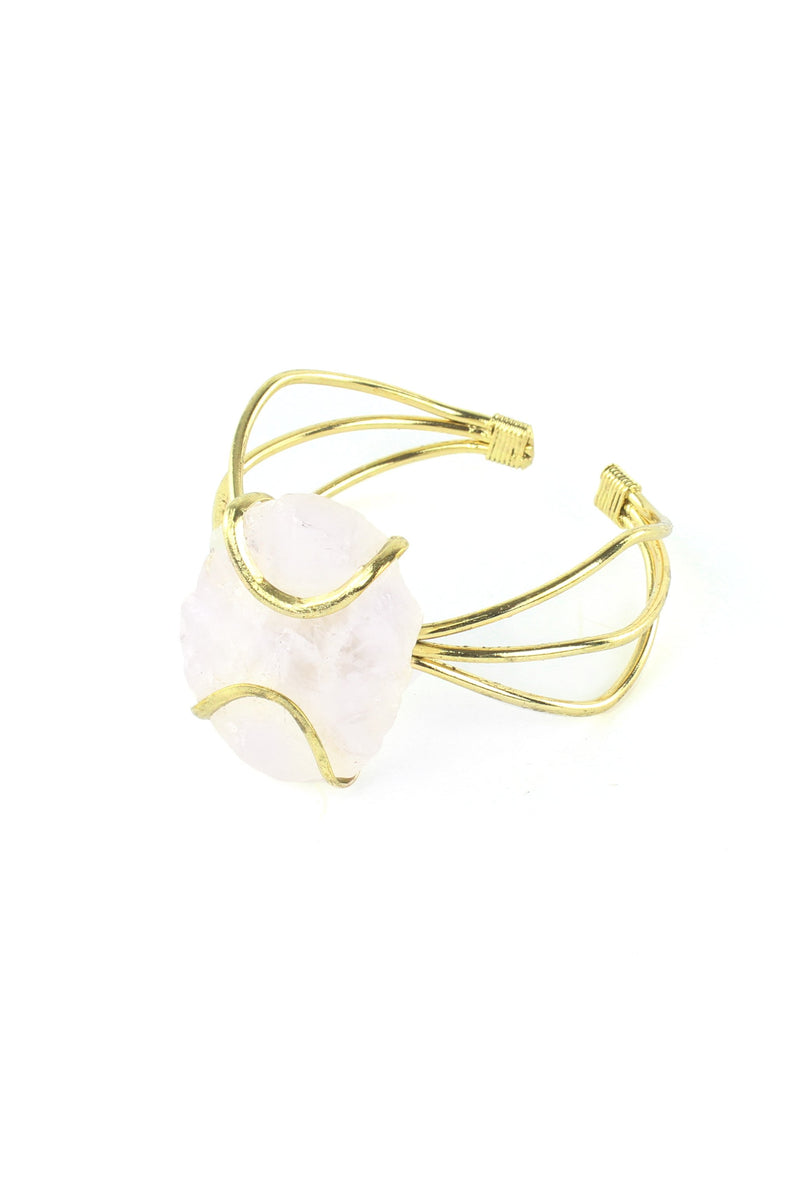 Natural Quartz and Gold Tone Wire Cuff