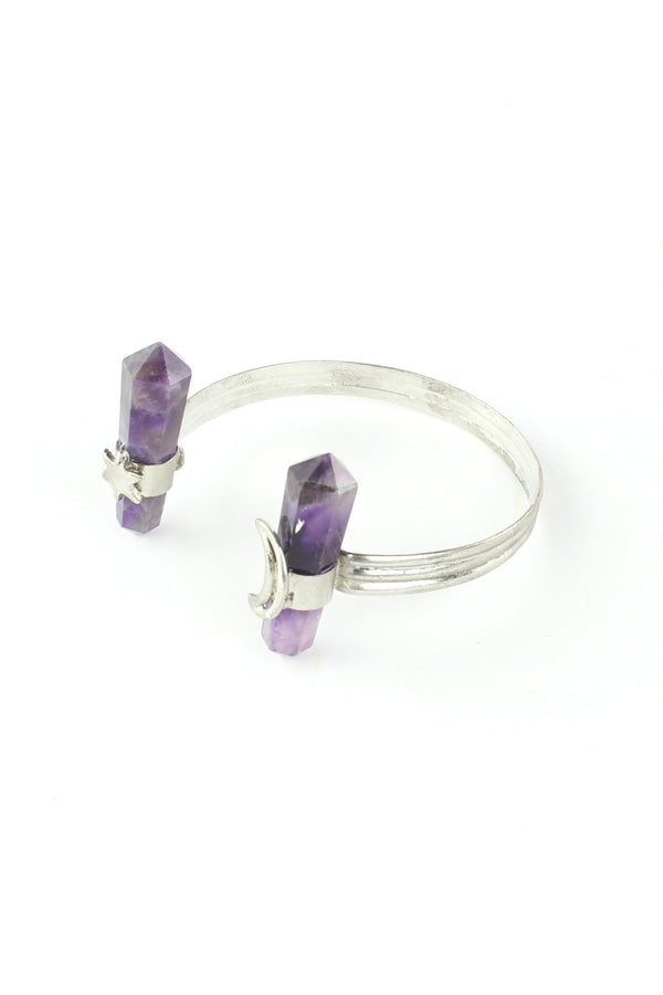 Magical Moon and Star Amethyst Cuff Bracelet