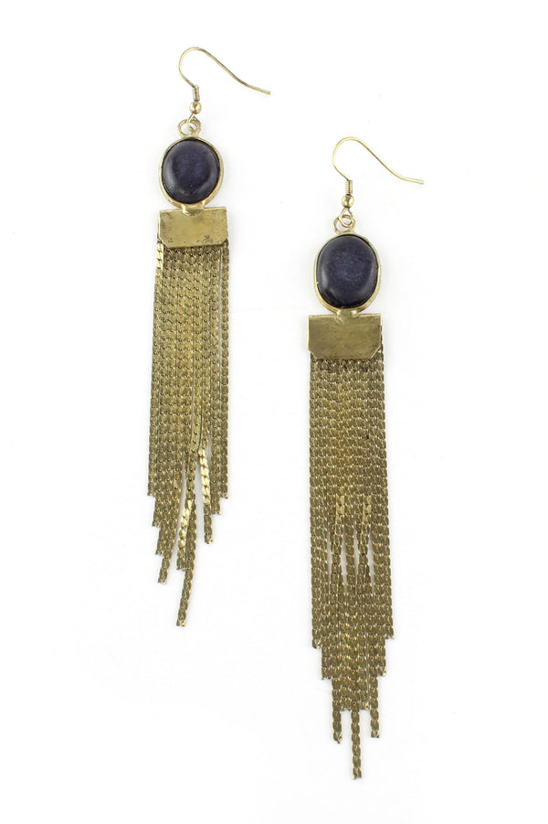 Antique Gold Fringe Drop Earrings
