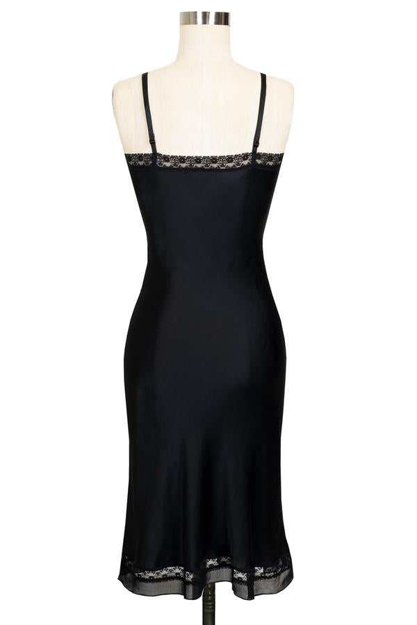 Viv Slip Dress - Black Satin