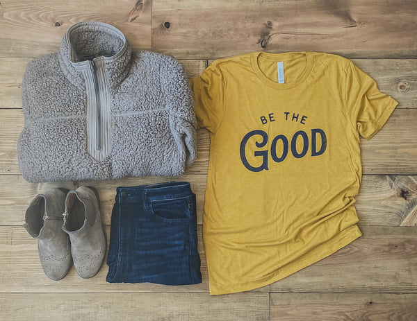 BE THE GOOD TEE IN MUSTARD