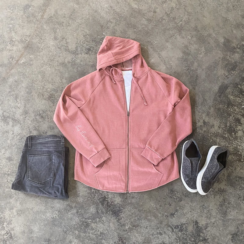 LIVE. EVERY DAY. ZIP HOODIE IN DUSTY ROSE