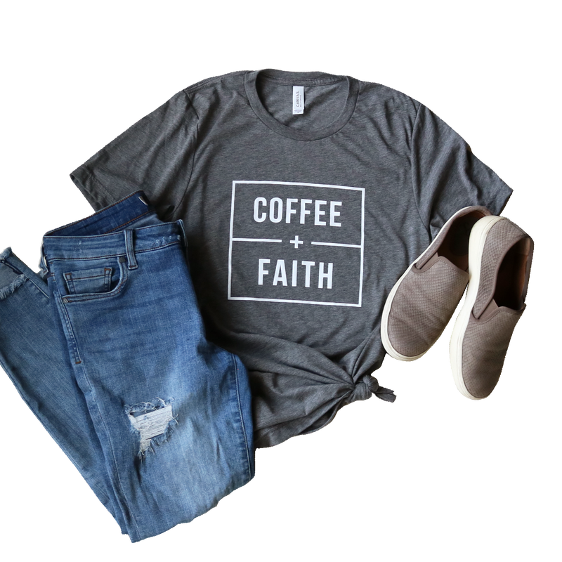 COFFEE + FAITH TEE IN GRAY