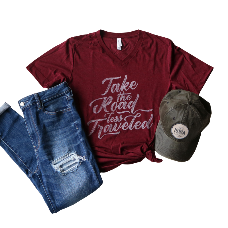 TAKE THE ROAD LESS TRAVELED TEE IN CARDINAL
