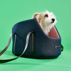 Rabbit getting ready for his afternoon nap in the Sutton Denim Dog Carrier