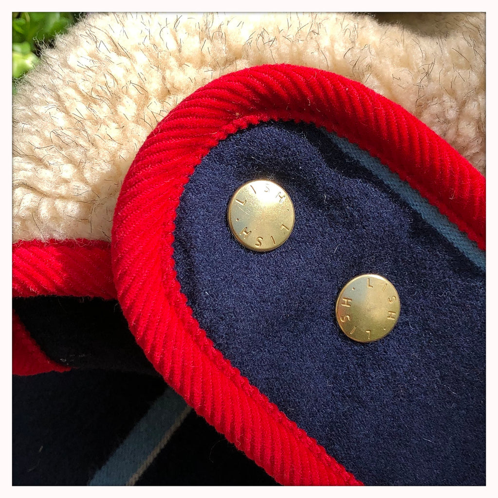 designer dog coat for greyhounds and sighthounds in red and navy