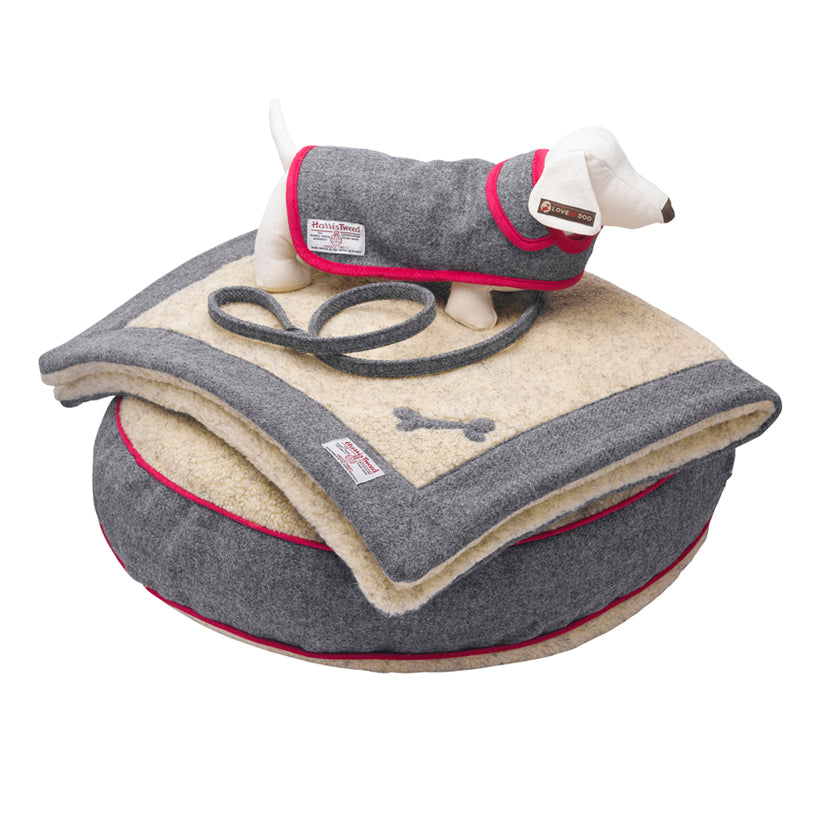 Daplyn Grey Harris Tweed Dog Bed