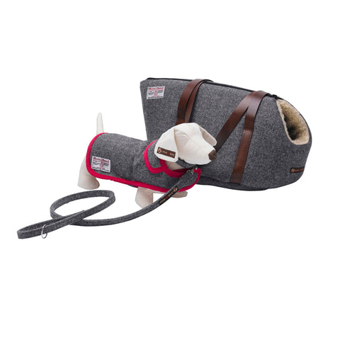 Daplyn Grey Harris Tweed Designer Dog Carrier