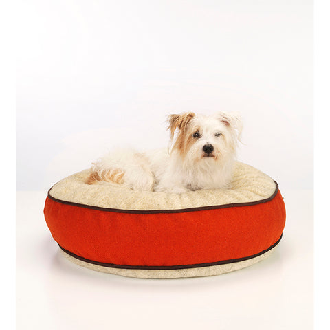 Edison Orange Harris Tweed Dog Bed