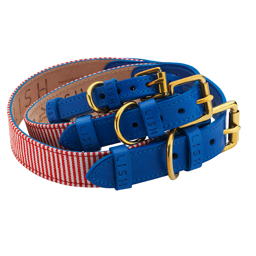 red cotton ticking dog collar with blue leather for all dog breeds