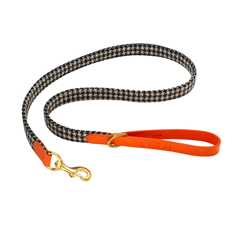 Designer harris tweed dog leash and dog lead with italian leather orange trim