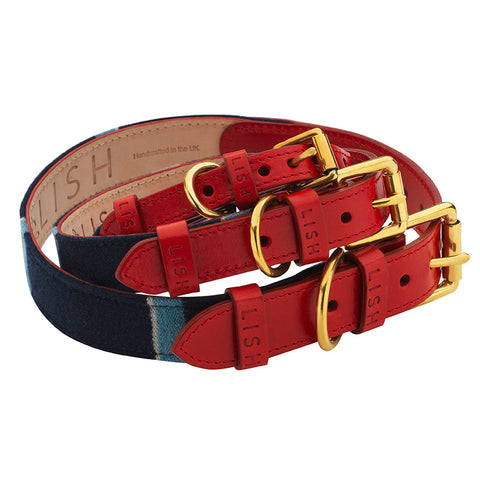 Red stripe and navy designer dog collar made in england