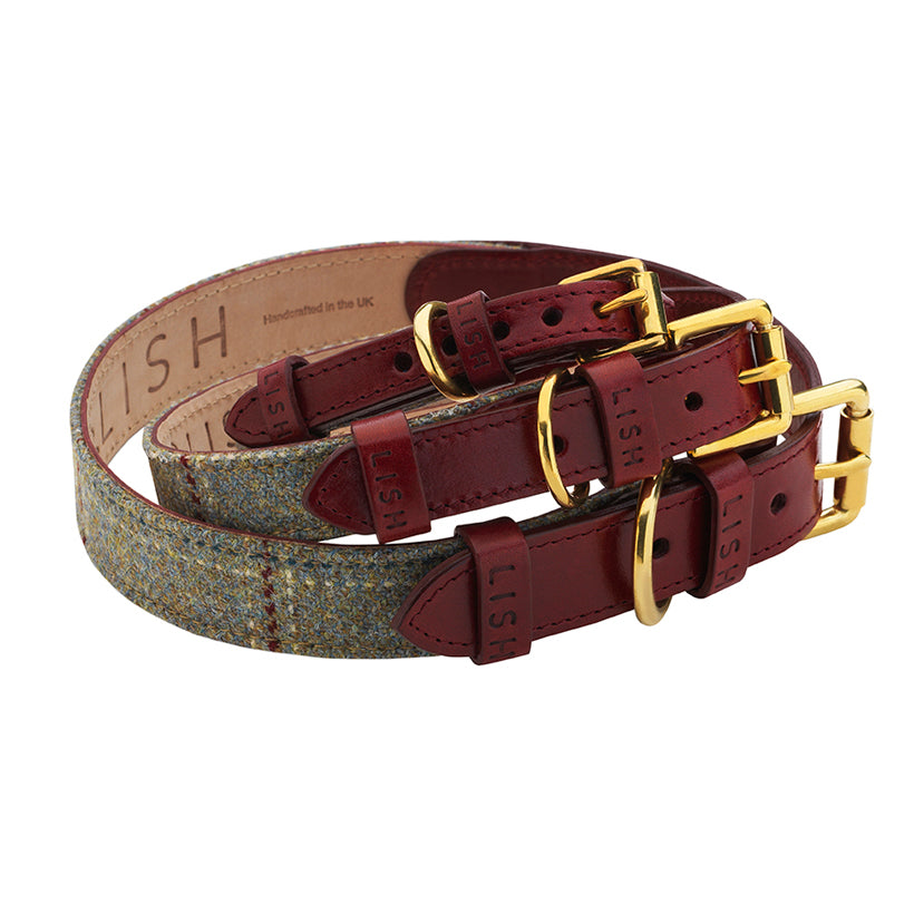 Dark wine italian leather dog collar for all dog breeds