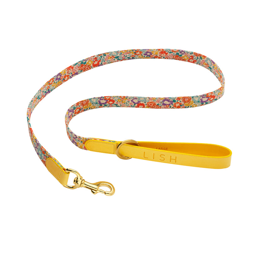 yellow designer dog leash and dog lead with liberty print