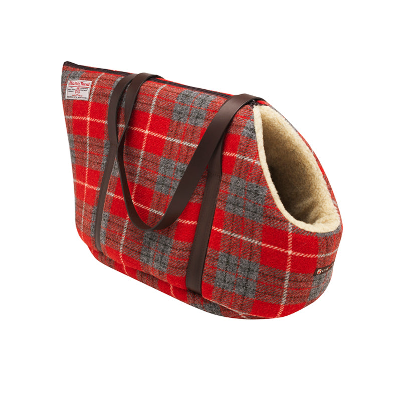 Harris Tweed designer pet carrier and dog travel bed