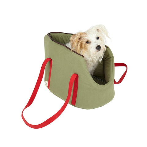Jack russell in designer pet carrier suitable for vegans