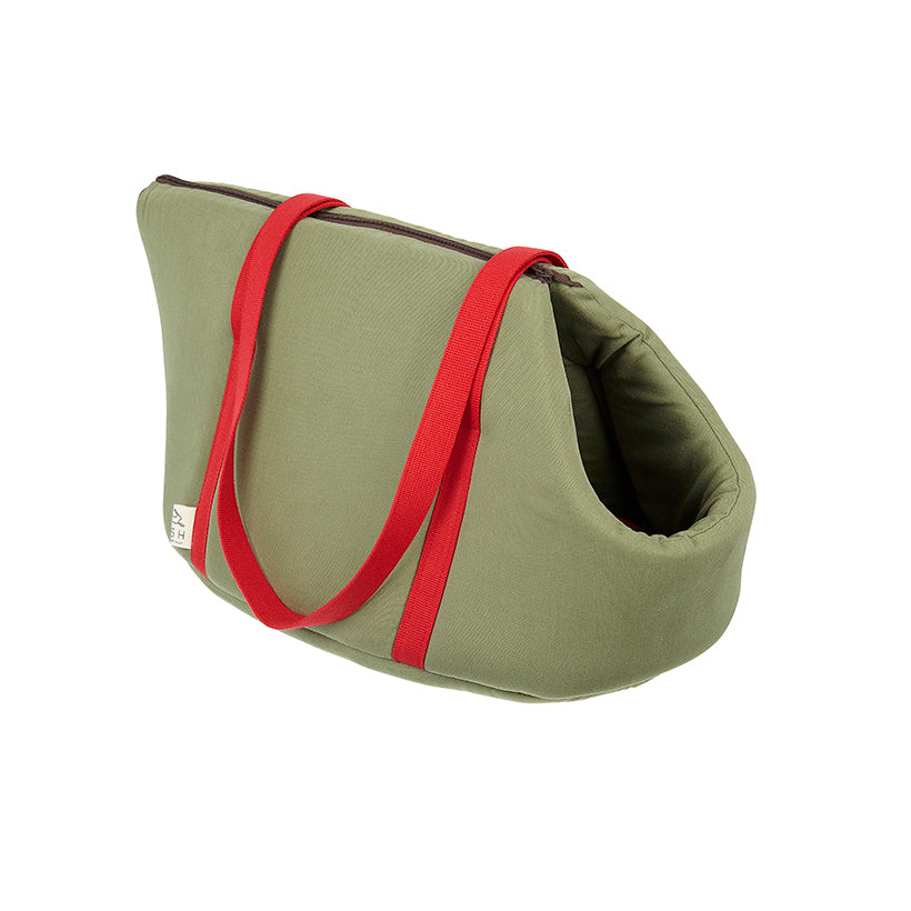 Khaki green and red cotton pet carriers suitable for vegans