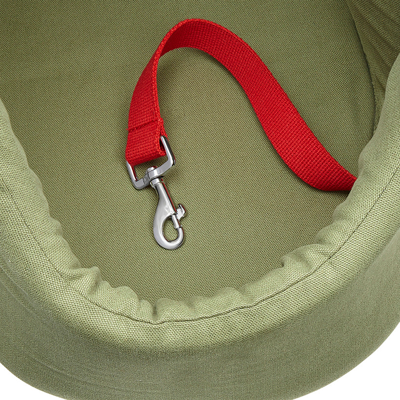 Khaki olive green pet carrier, dog carrier and dog day bed