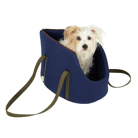 Mini daxi and jack russell size pet carrier and designer dog travel bed suitable for vegan dog owners