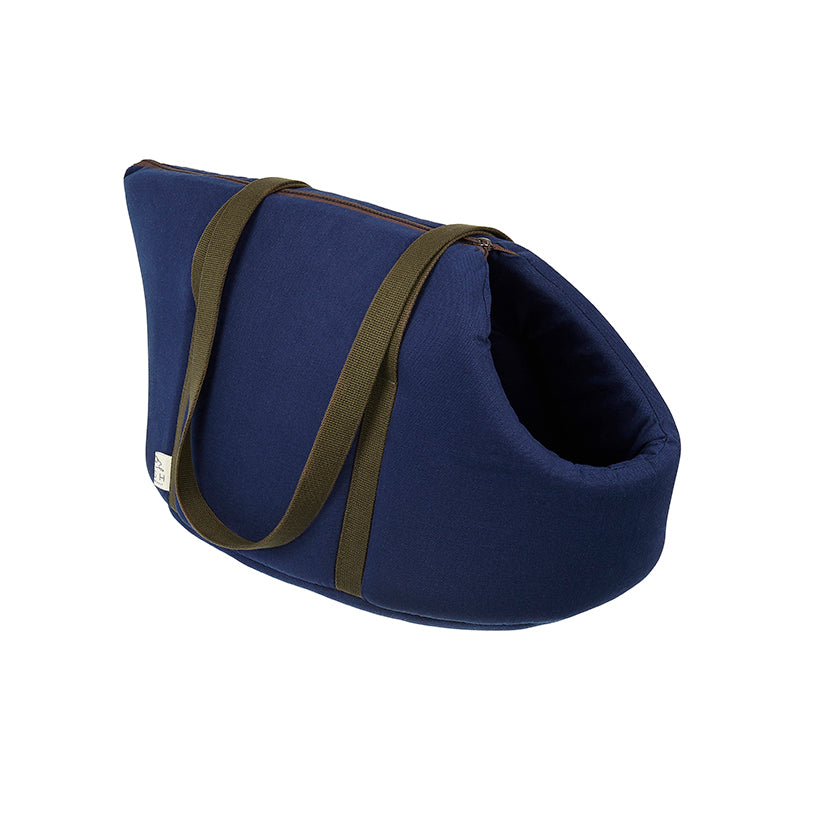 Navy designer cotton pet carrier and dog travel bed