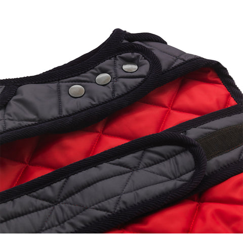 red quilted dog raincoat