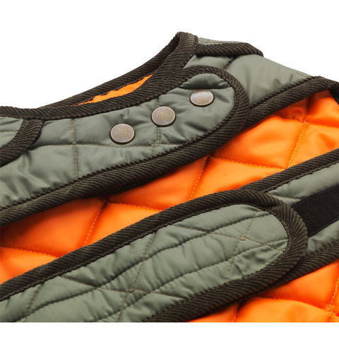 Orange and green quilted designer dog raincoat