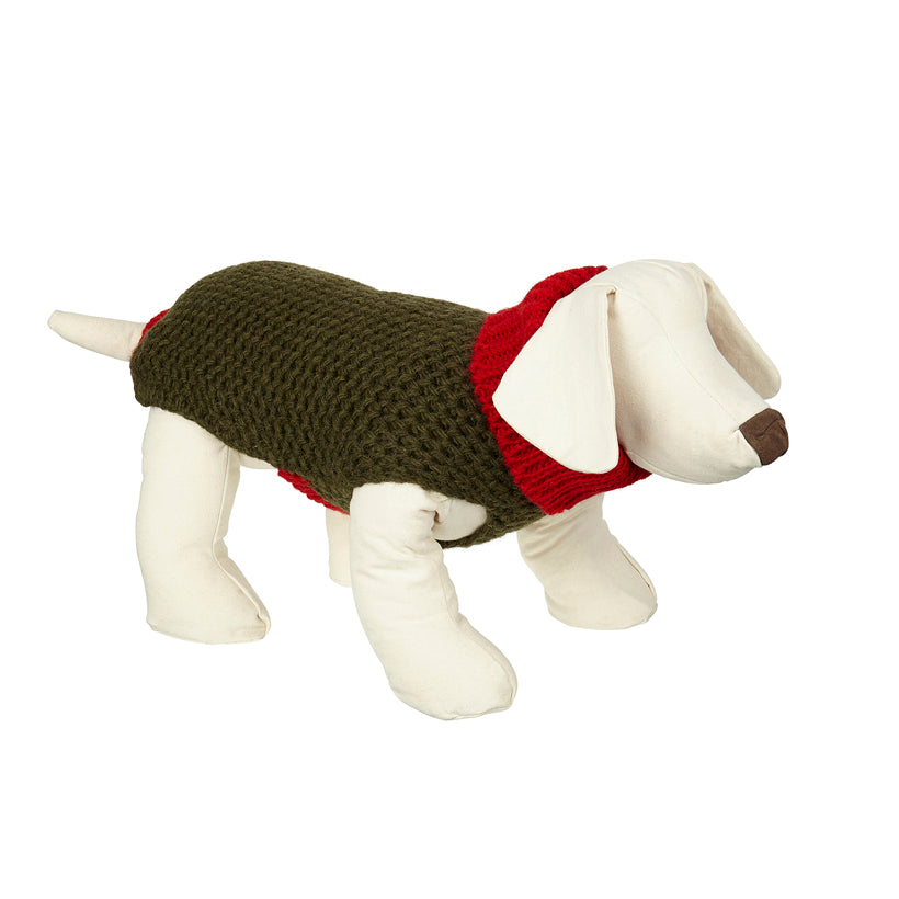 red designer dog polo neck and sweater handcrafted