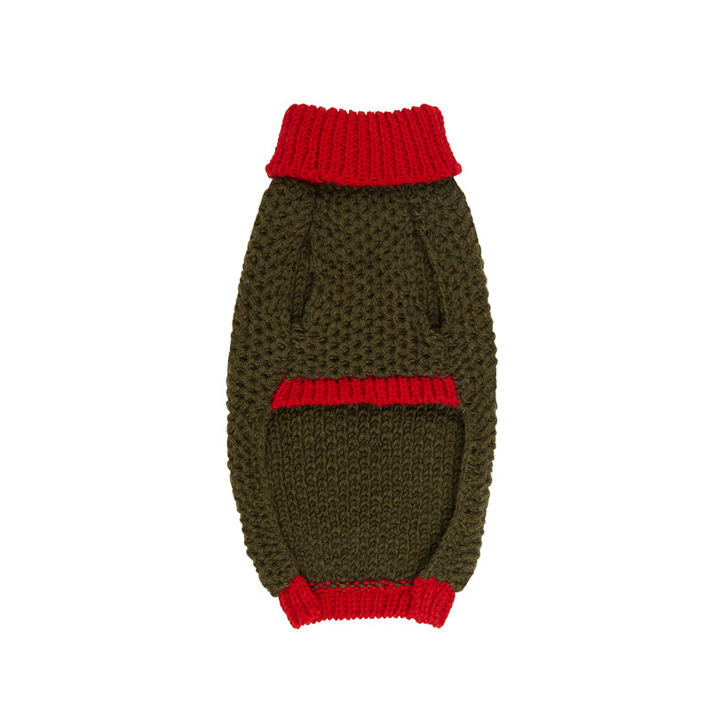 khaki and olive green designer dog sweater and jumper