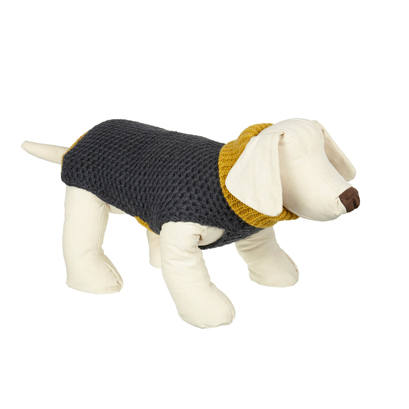 designer dog polo neck sweater yellow and slate grey