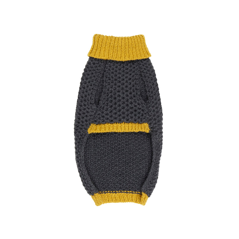 Designer hand knitted dog jumper in yellow and grey