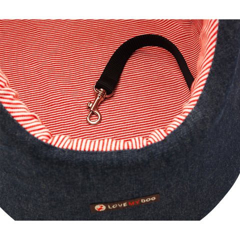 Red stripe denim designer pet and dog carrier and dog day bed