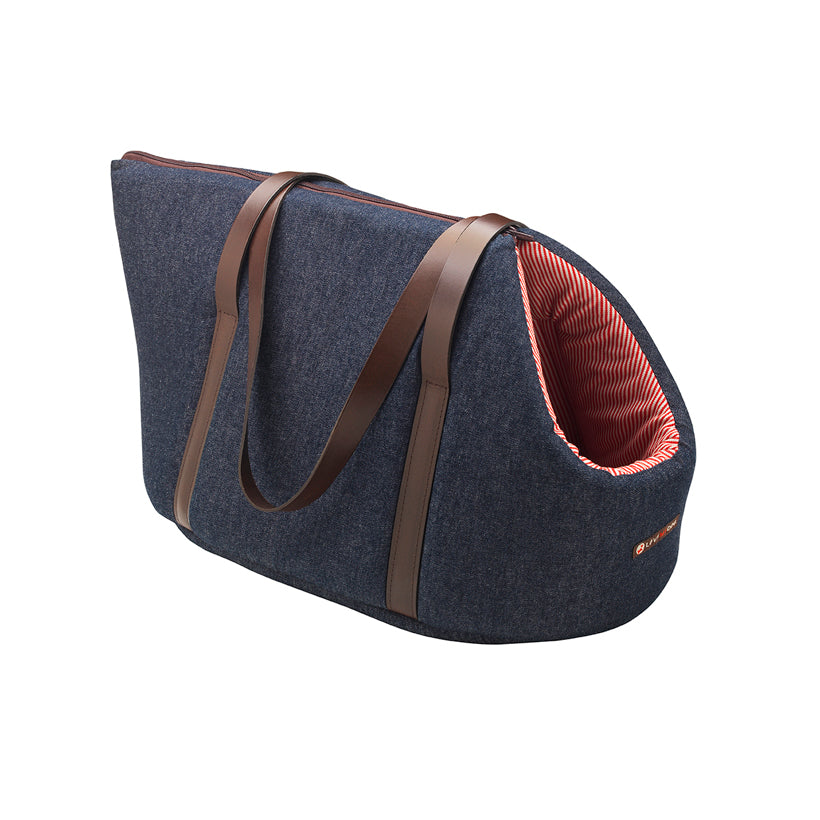 designer Denim mini daxi dog bag and pet carrier