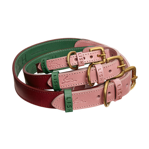 Walter Pink Leather Dog Collar