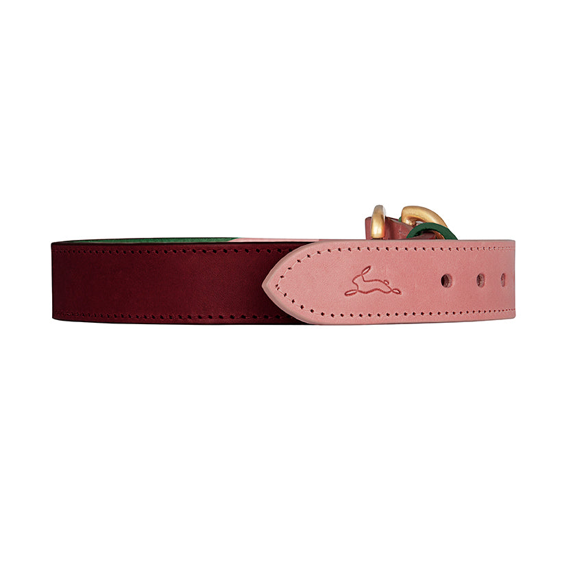 Designer red leather dog collar in Italian leather
