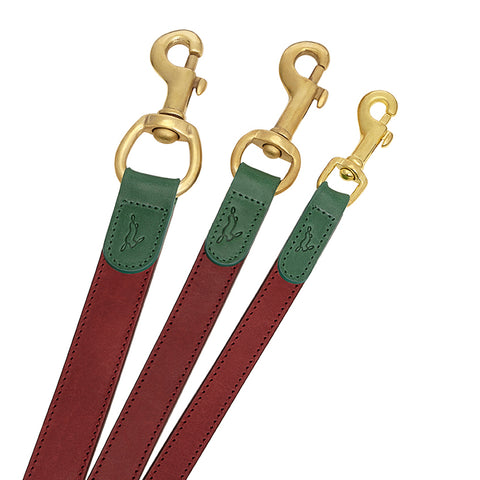 designer dog leash in avocado green and maple red in italian leather and solid brass fittings