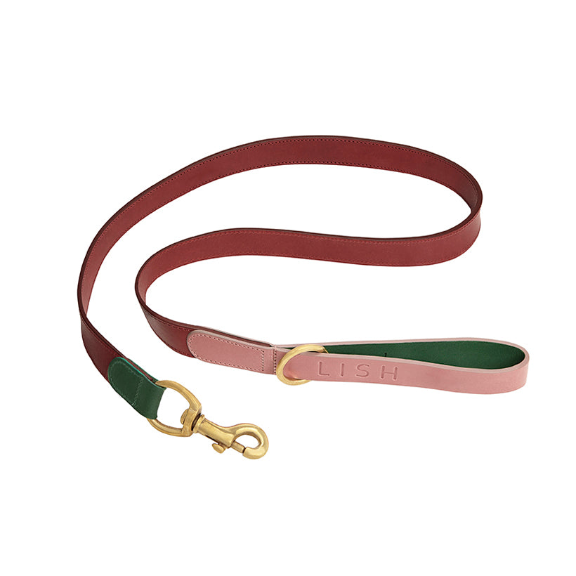 Walter Pink Leather Dog Lead
