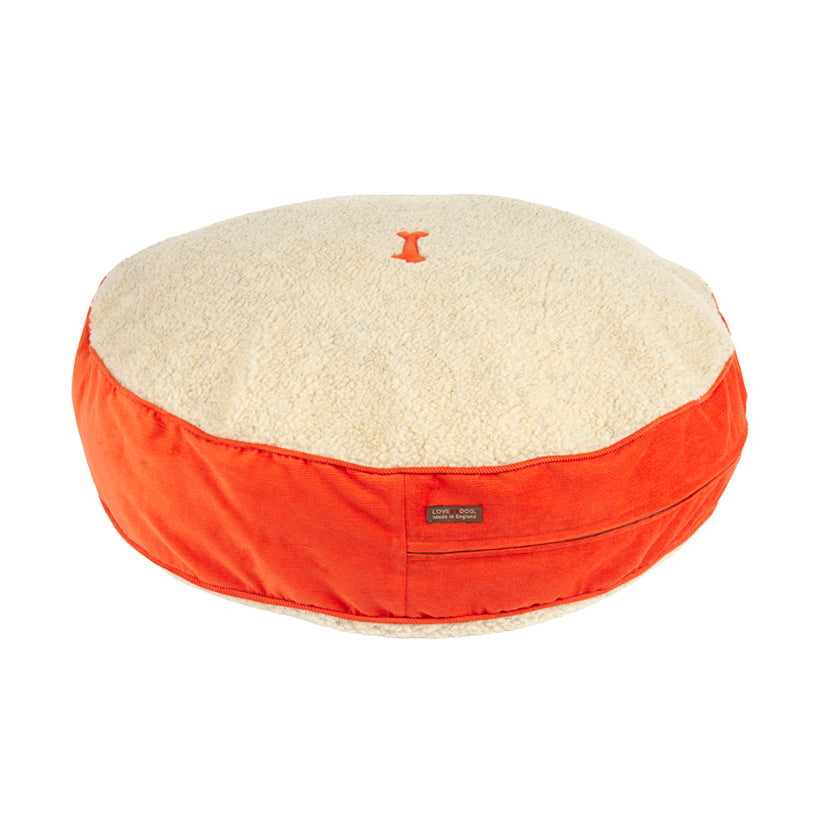 Spencer Corduroy Orange Dog Bed