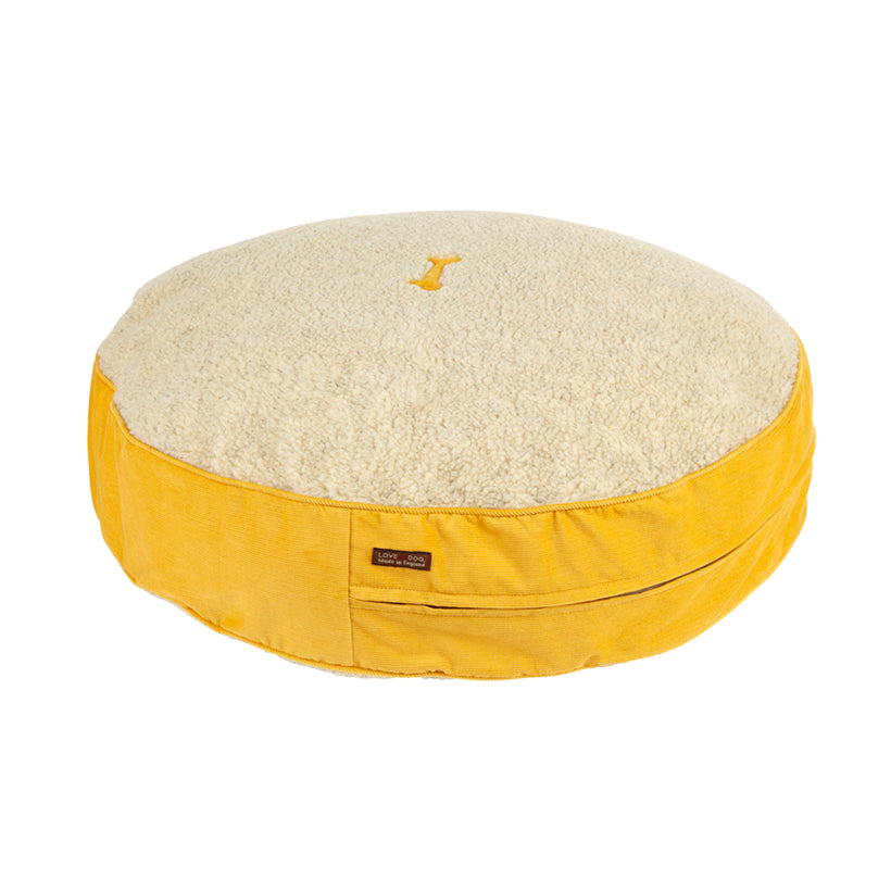 Spencer Corduroy Yellow Dog Bed