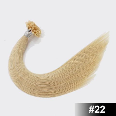 Image of Italian Keratin U Tip Remy Human Hair Extensions 50 pcs. Color 22 - SilkyHairShop.com