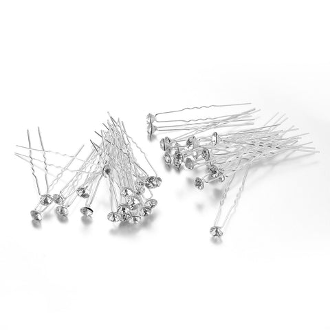 Rhinestone Hair Pins 40pcs - SilkyHairShop.com