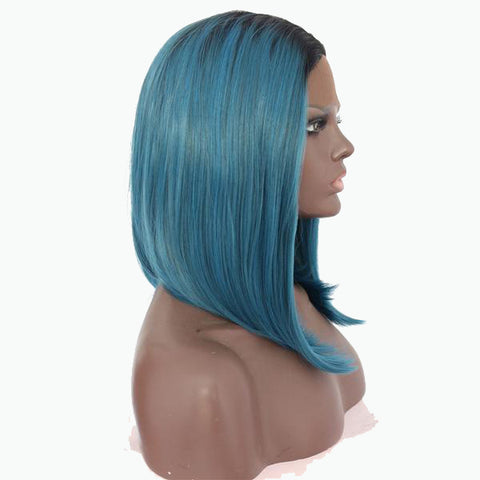 Image of Tamiko Blue Ombre Lace Front Bob - SilkyHairShop.com