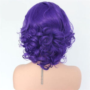 Violet Lace Front Big Curly Bob color purple