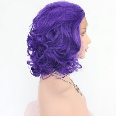 Violet Lace Front Big Curly Bob color purple - SilkyHairShop.com