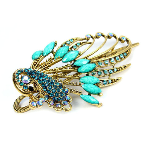 Image of Crystal Peacock Hair Clip - SilkyHairShop.com