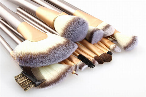 Image of 18pcs Professional Premium Make up Brush Set with Travel Bag - SilkyHairShop.com