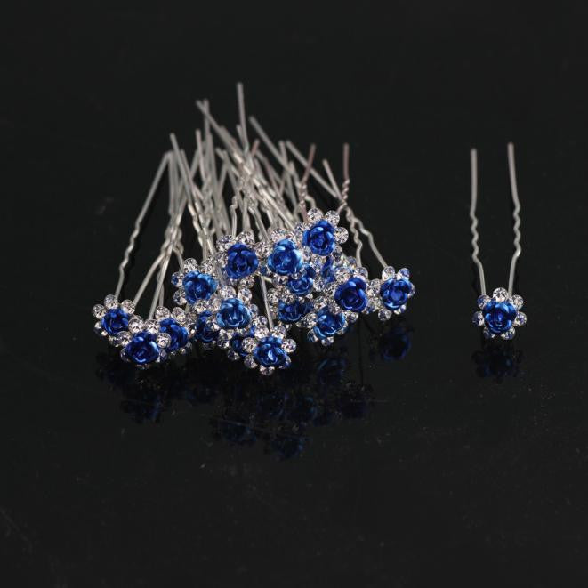 10pcs Rose Flower Hair Pins Hairpins - SilkyHairShop.com