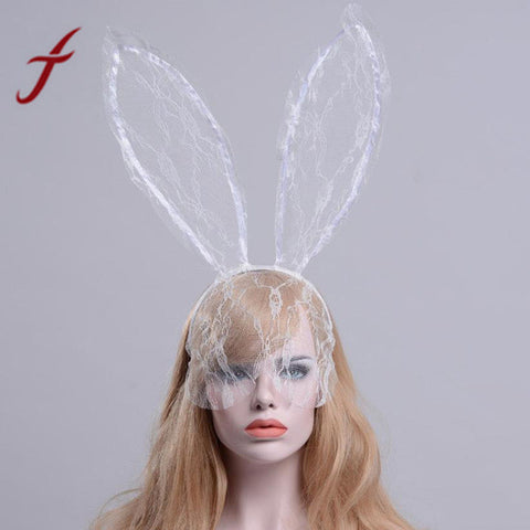 Lace Bunny Ears Headband - SilkyHairShop.com